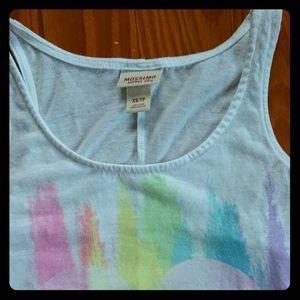 Mossimo White Rainbow Heart Tank Top